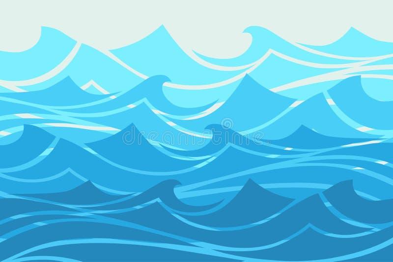 Abstrakt begrepp för vågor för blått vatten, havbanerillustration vektor illustrationer