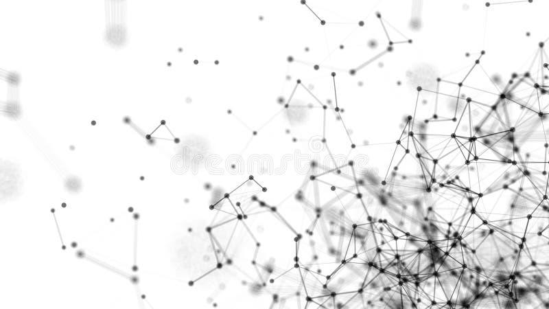 Abstrakt begrepp förbindelseprickar på vit bakgrund begrepp isolerad teknologiwhite Digital illustration vektor illustrationer