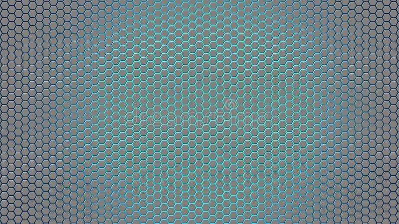 Abstrakt begrepp försilvrar sexhörningar i blå bakgrund royaltyfria foton