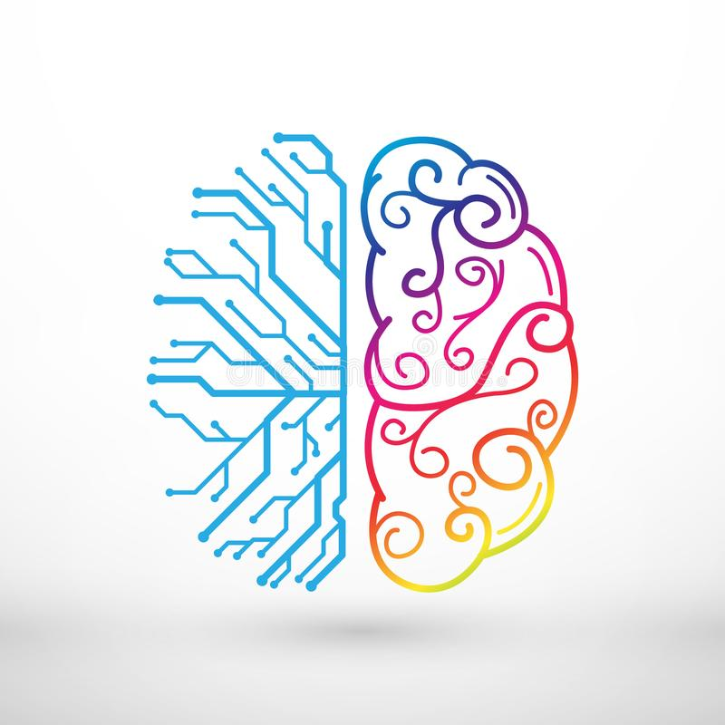 Abstrakt begrepp fodrar funktionsbegrepp för vänster och höger hjärna stock illustrationer