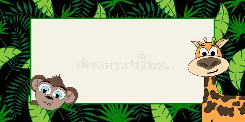 Abstrakt begrepp formar Moderiktiga tropiska sidor med apa- och giraffvektorn planlägger royaltyfri illustrationer