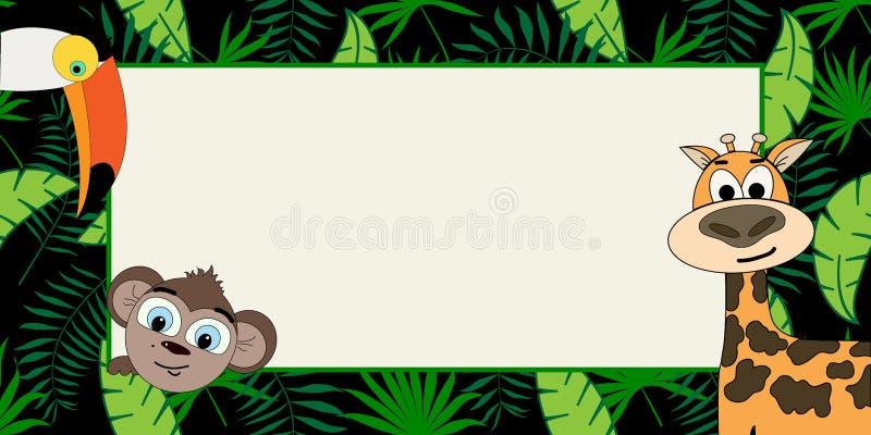 Abstrakt begrepp formar Moderiktiga tropiska sidor med en tukan-, apa- och giraffvektor planlägger stock illustrationer