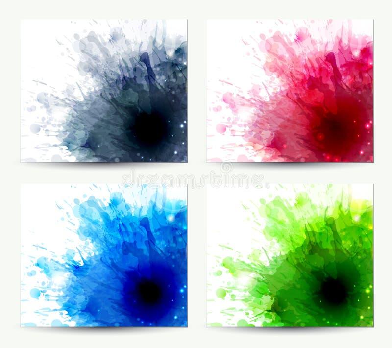 Abstrakt begrepp fyra vektor illustrationer
