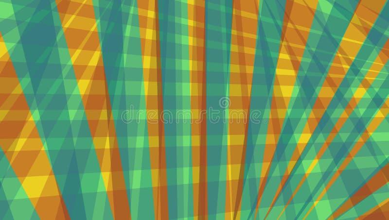 Abstrakt begrepp gör randig och linjer modell i blått för orange röd guld och kricka royaltyfri illustrationer