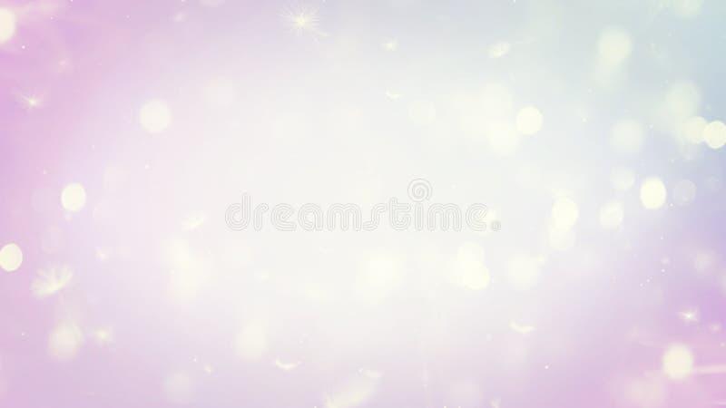 Abstrakt begrepp gjorde suddig härlig glödande pastellfärgad lutningbakgrund med bokehljus för dubbel exponering royaltyfri illustrationer