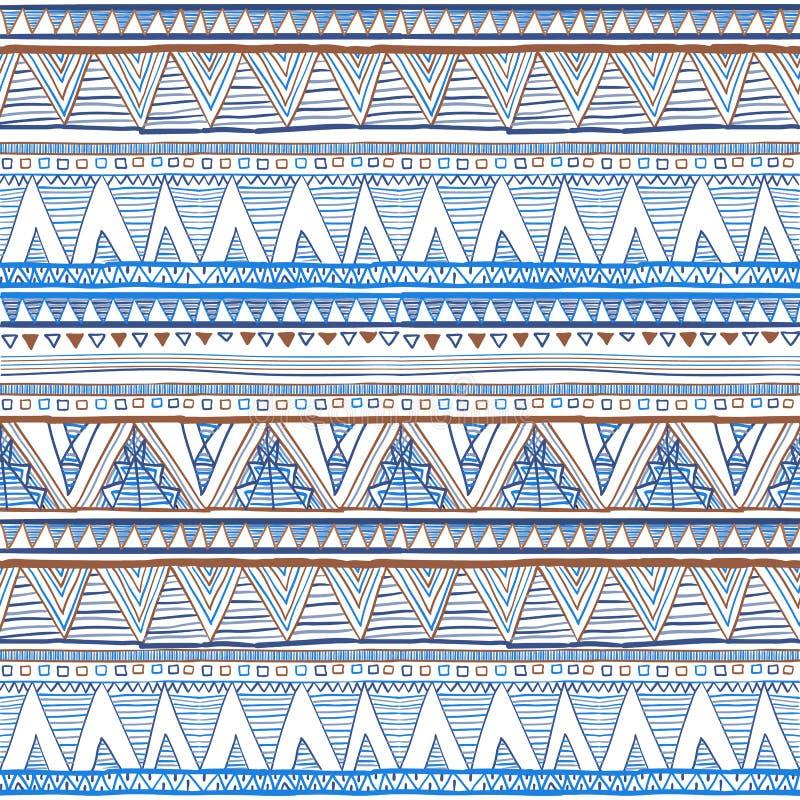 Abstrakt begrepp hand-dragen etnisk modell, stam- bakgrund color vektorn för möjliga variants för modellen den olika etniska söml royaltyfri illustrationer