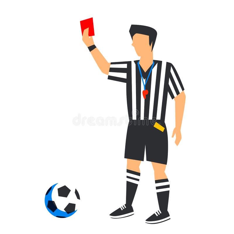 Abstrakt begrepp i blå fotbolldomare med det röda kortet och bollen Fotbolldomare Isolated på en vit bakgrund FIFA världscup stock illustrationer