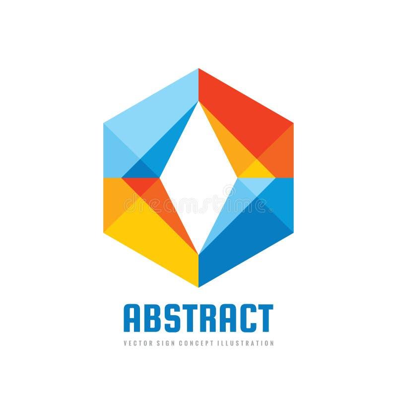 Abstrakt begrepp - illustration för begrepp för vektorlogomall Idérikt tecken för samarbete Sexhörningssymbol kulöra designelemen stock illustrationer