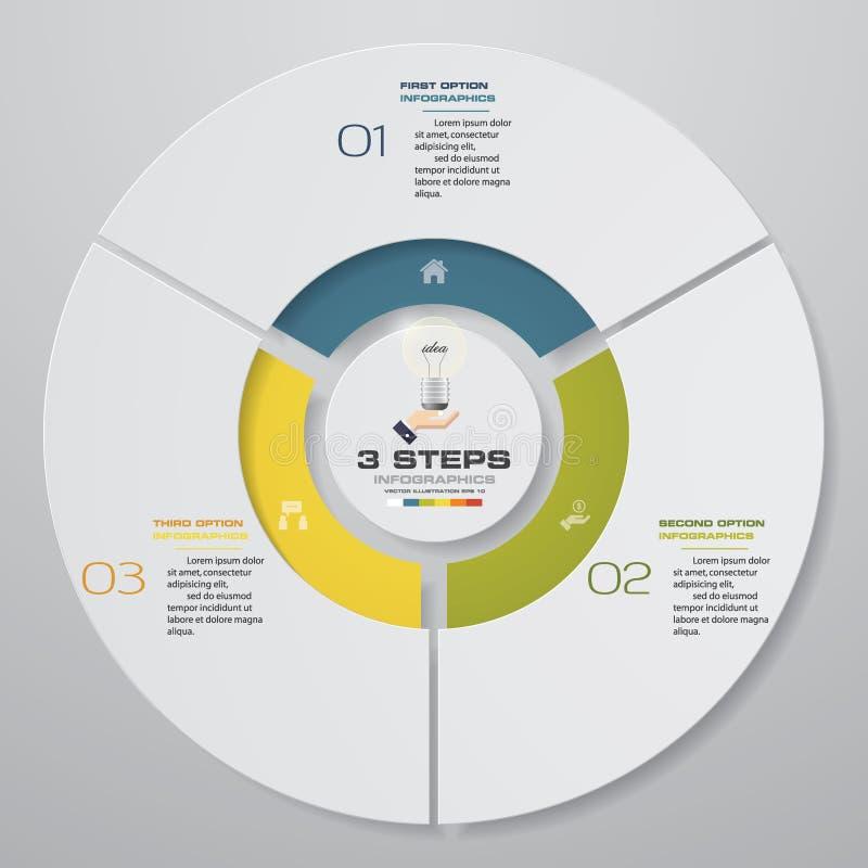 Abstrakt begrepp 3 kliver moderna beståndsdelar för infographics för pajdiagram också vektor för coreldrawillustration stock illustrationer