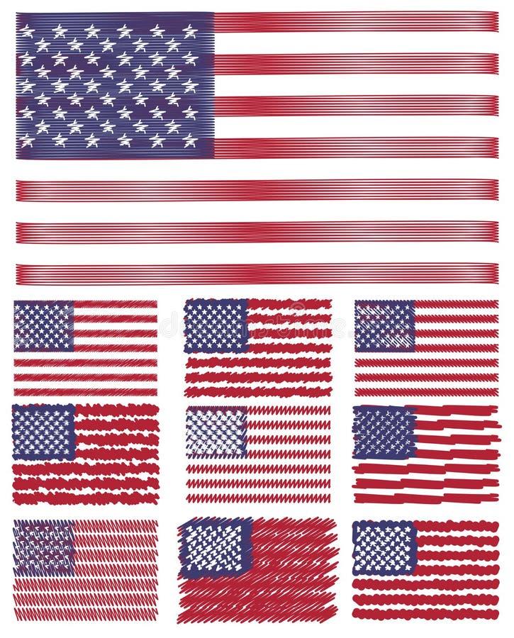 Abstrakt begrepp klottrar uppsättningen för bakgrundsUSA-flaggan stock illustrationer