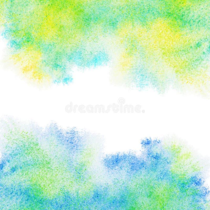 Abstrakt begrepp målade blått, gräsplan, gul vattenfärgbakgrund. royaltyfri foto