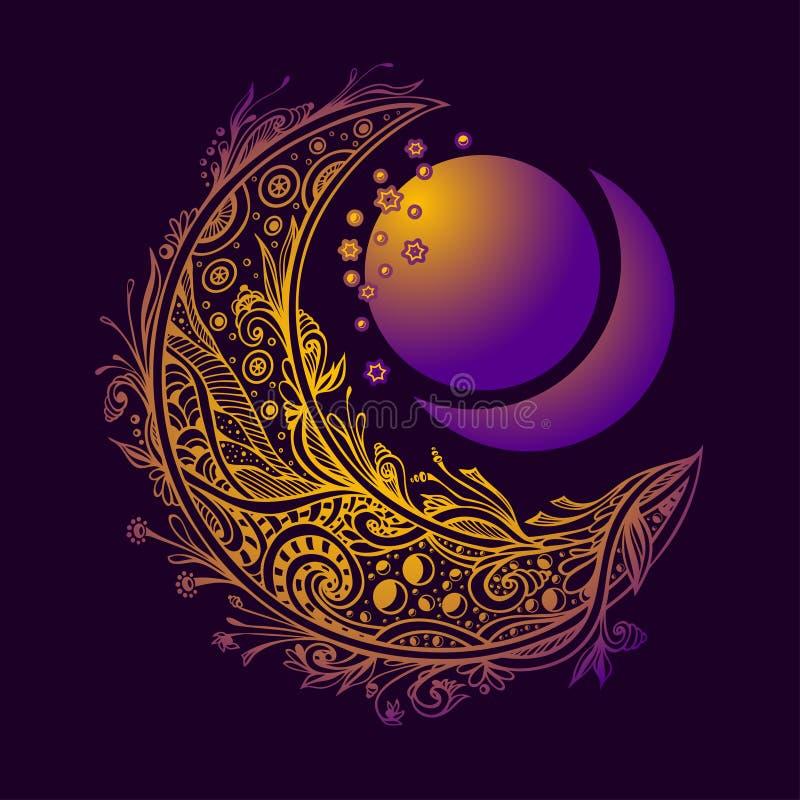 Abstrakt begrepp med den dekorativa månen eller halvmånformig i lila violett guld stock illustrationer