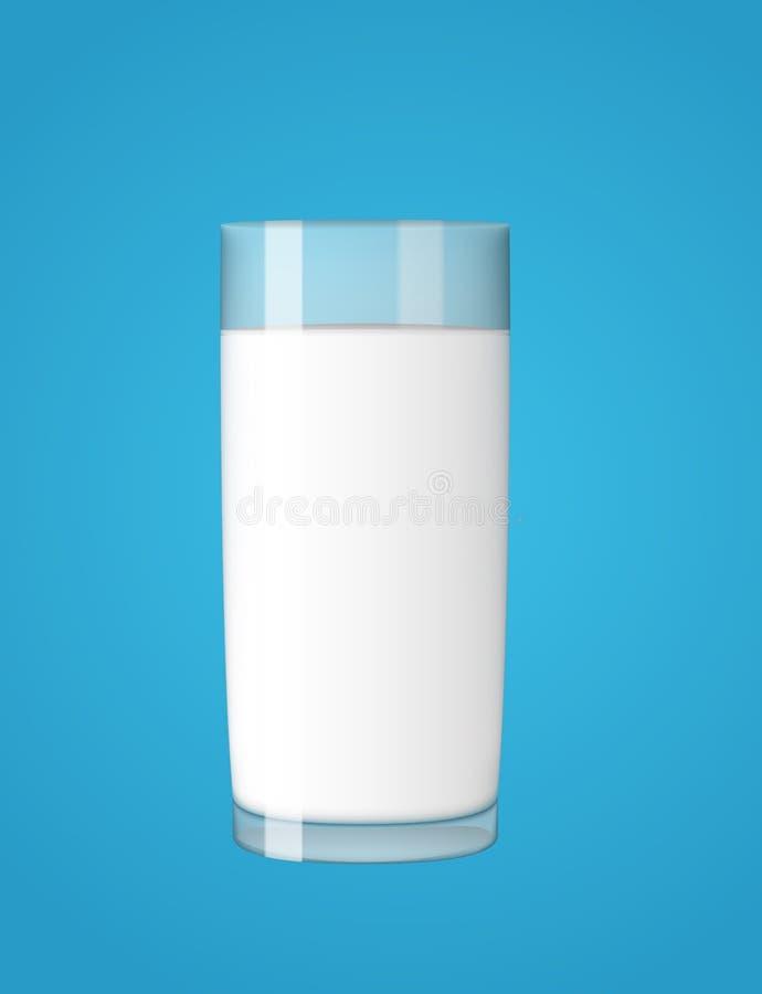 Abstrakt begrepp mjölkar exponeringsglas på blå bakgrundsvektorillustration royaltyfri illustrationer