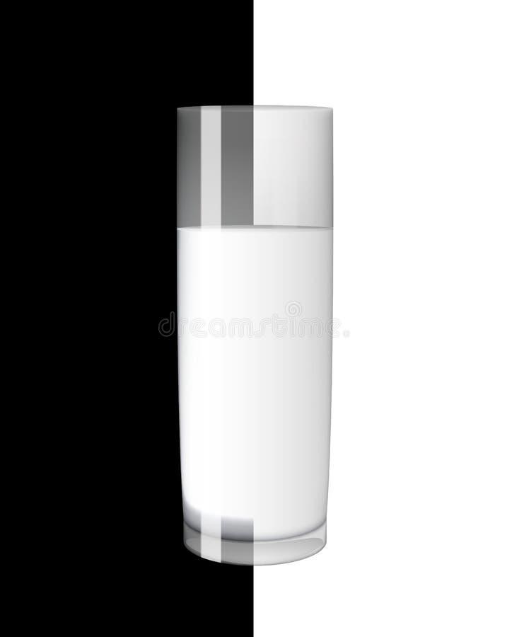 Abstrakt begrepp mjölkar exponeringsglas på svartvit bakgrundsvektorillustration vektor illustrationer