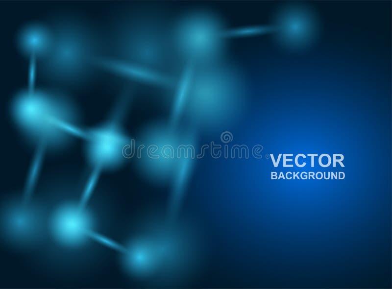Abstrakt begrepp Molekyldesign _ L?karunders?kning- eller vetenskapsbakgrund Molekyl?r struktur med bl?a sf?riska partiklar vekto royaltyfri illustrationer