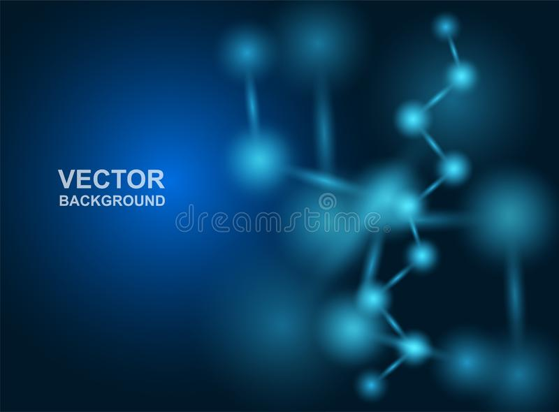 Abstrakt begrepp Molekyldesign _ L?karunders?kning- eller vetenskapsbakgrund Molekyl?r struktur med bl?a sf?riska partiklar vekto vektor illustrationer