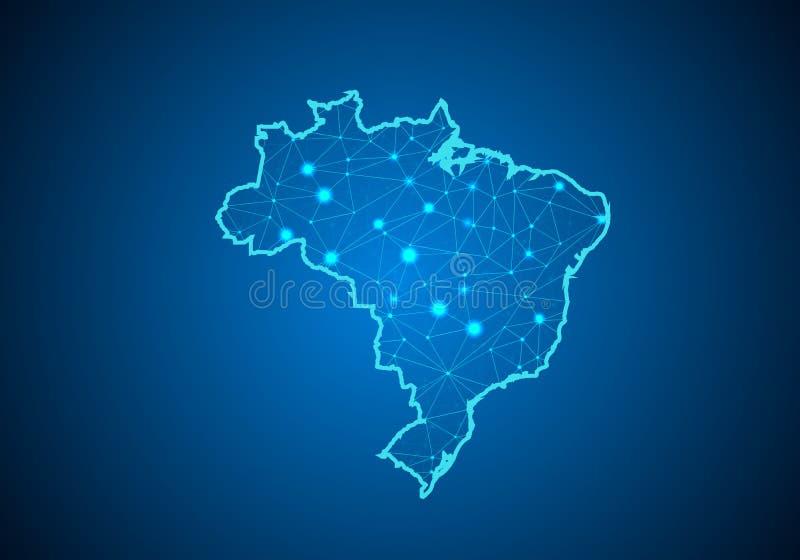 Abstrakt begrepp mosar linje- och punktvåg på mörk bakgrund med översikten av Brasilien stock illustrationer