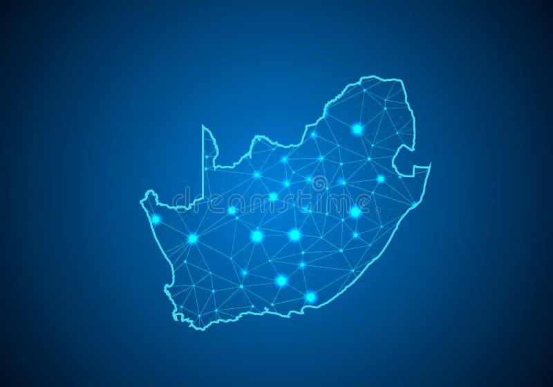Abstrakt begrepp mosar linje- och punktvåg på mörk bakgrund med översikten av Sydafrika stock illustrationer