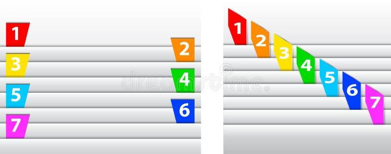 Abstrakt begrepp numrerade färgrika etiketter mellan sidor vektor illustrationer
