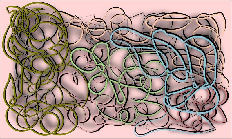 Abstrakt begrepp på en beige bakgrund färgade repet som var intrasslat i diagram stock illustrationer