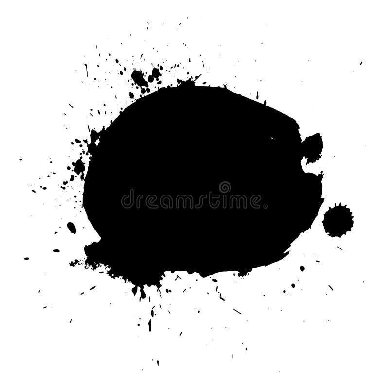 Abstrakt begrepp plaskar svart färgbakgrund Genomblöt vektorillustration för målarfärg vektor illustrationer