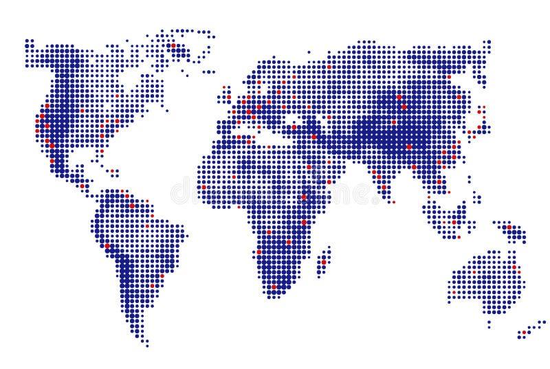 Abstrakt begrepp prack prickar för runda för världskartavektorblått Dot World översikter extra bakgrundsaffärsformat också vektor vektor illustrationer