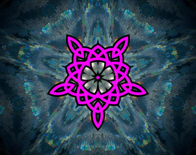 Abstrakt begrepp pressad ut mandalablomma av liv vektor illustrationer