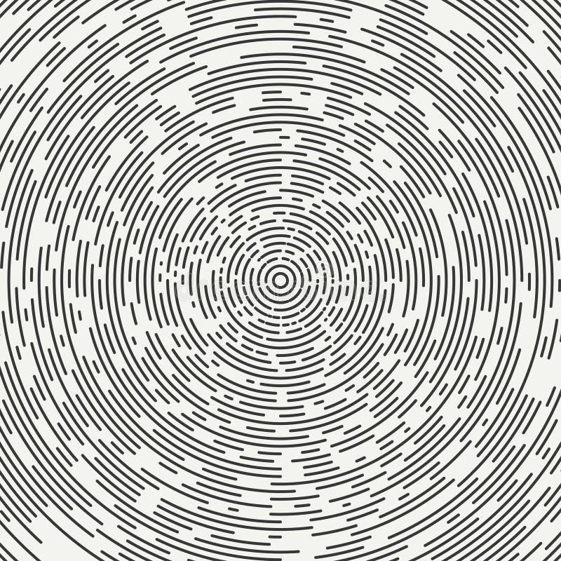 Abstrakt begrepp segmenterad geometrisk cirkelform Radiella koncentriska cirklar cirklar Swirly koncentriska segmenterade cirklar stock illustrationer