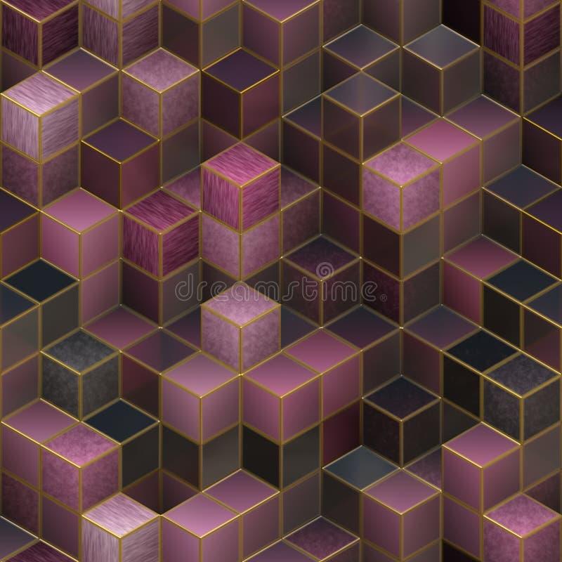 Abstrakt begrepp skära i tärningar sömlös bakgrund stock illustrationer