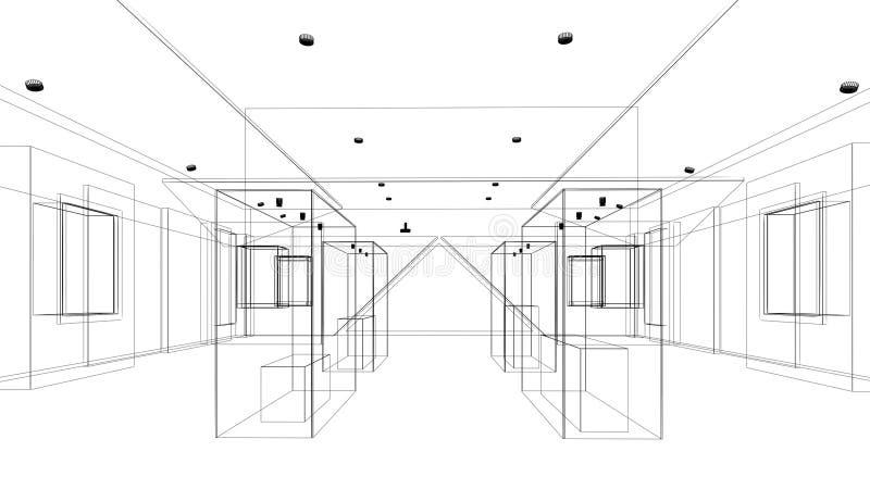 Abstrakt begrepp skissar design av utställningrum, inre museum vektor illustrationer
