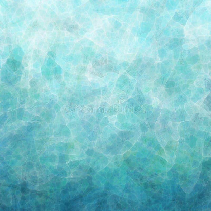 Abstrakt begrepp skvalpade vatten eller vinkar illustrationen, blå gräsplan, och vita glas- reflexioner i nätt texturerad bakgrun stock illustrationer
