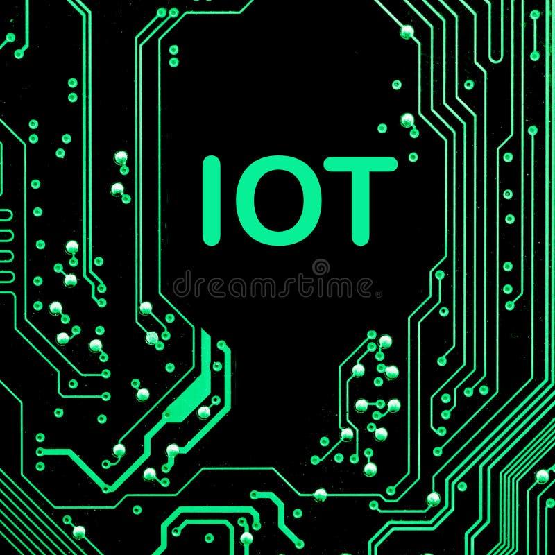 Abstrakt begrepp slut upp av bakgrund Mainboard för elektronisk dator IOT internet av saker stock illustrationer