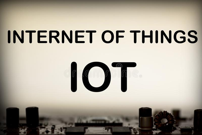 Abstrakt begrepp slut upp av bakgrund Mainboard för elektronisk dator IOT internet av saker royaltyfri illustrationer