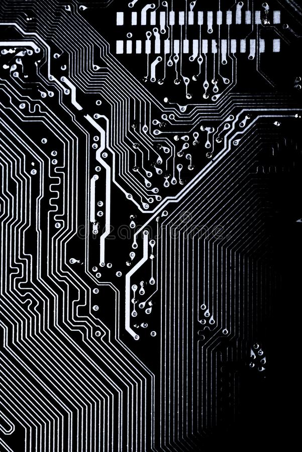 Abstrakt begrepp slut upp av bakgrund Mainboard för elektronisk dator logikbräde, CPU-moderkort, huvudsakligt bräde, systembräde, stock illustrationer