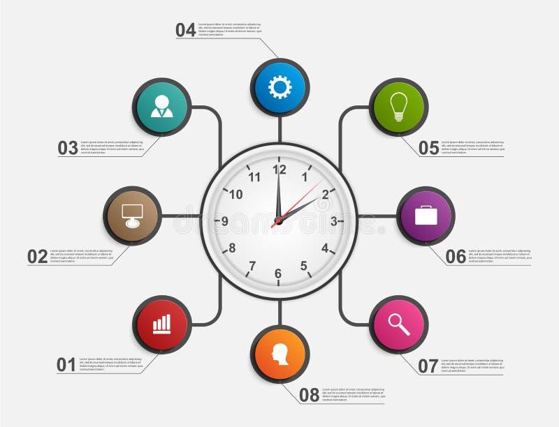Abstrakt begrepp som är infographic med klockan mall för restaurang för begreppsdesign royaltyfri illustrationer
