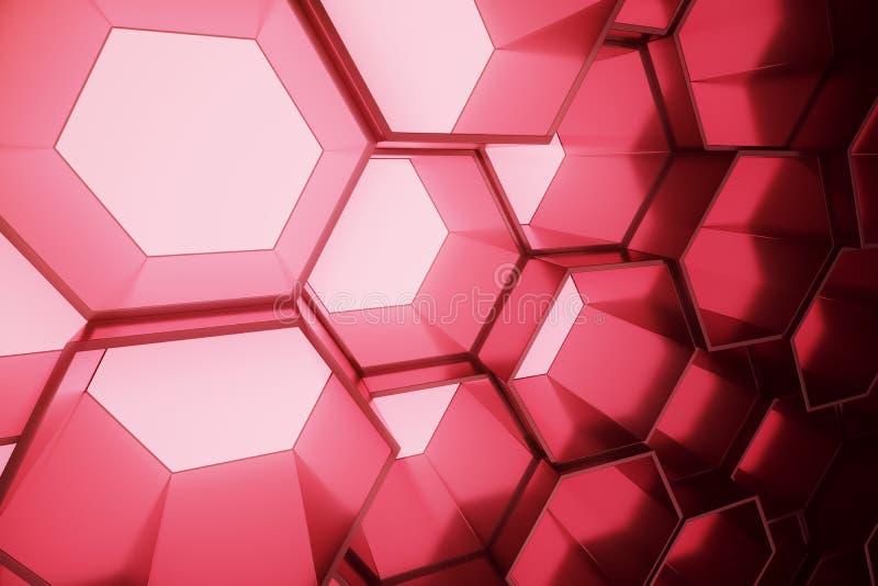 Abstrakt begrepp som är rött av den futuristiska yttersidasexhörningsmodellen, sexhörnig honungskaka med ljusa strålar, tolkning  stock illustrationer
