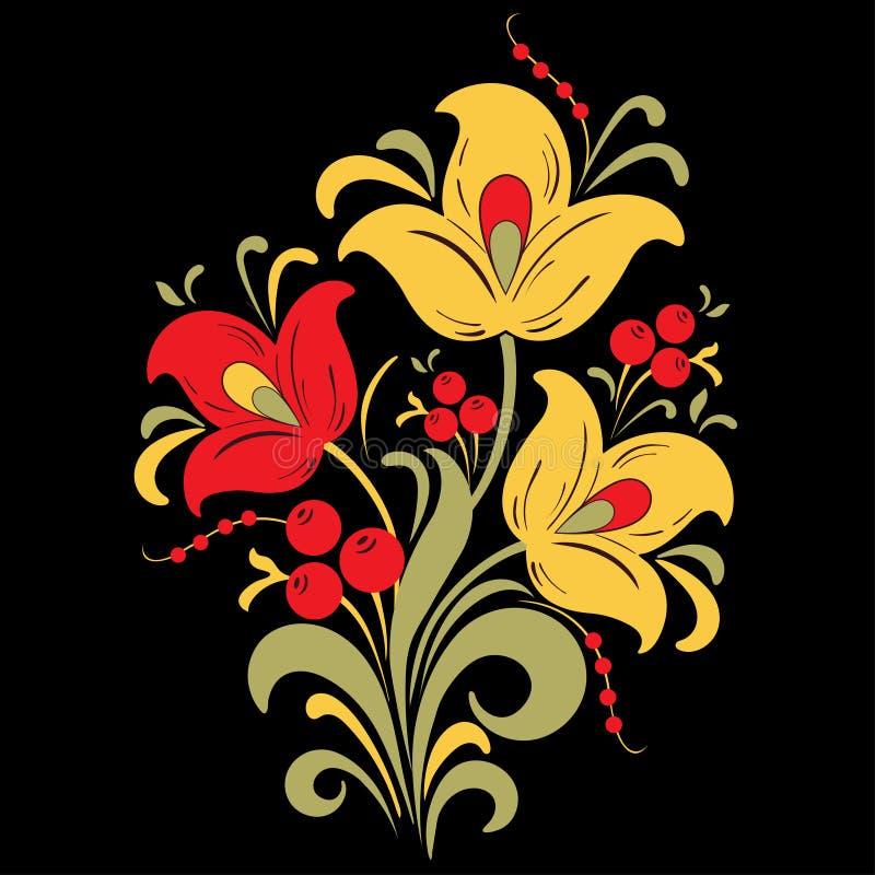 Abstrakt begrepp stiliserade blomman, vektorillustrationen, bukettteckning Dekorativ blomma i röda, gula och gröna färger, knoppa vektor illustrationer
