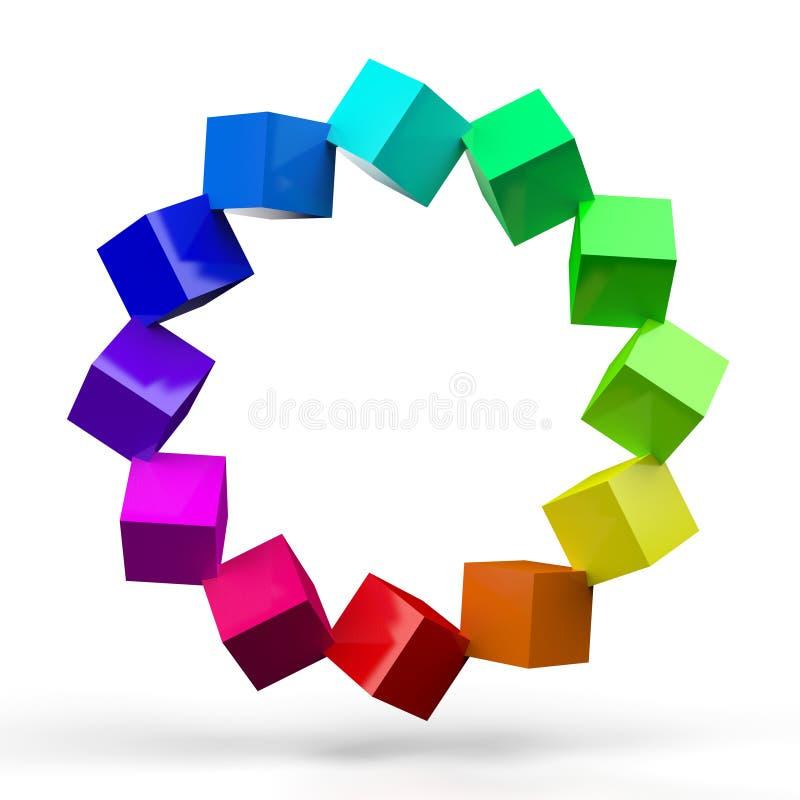 Den färgrika kuben cirklar stock illustrationer