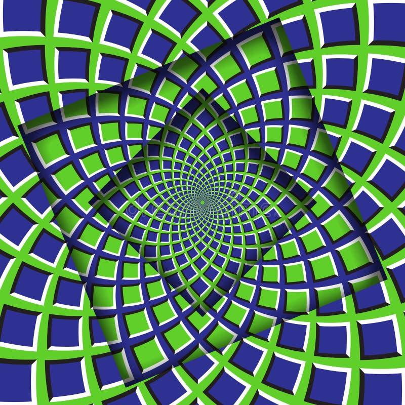Abstrakt begrepp vände ramar med en roterande grön blå fyrkantmodell optisk bakgrundsillusion vektor illustrationer