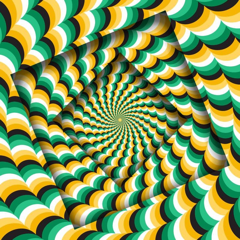 Abstrakt begrepp vände ramar med en roterande grön gul krabb modell optisk bakgrundsillusion royaltyfri illustrationer