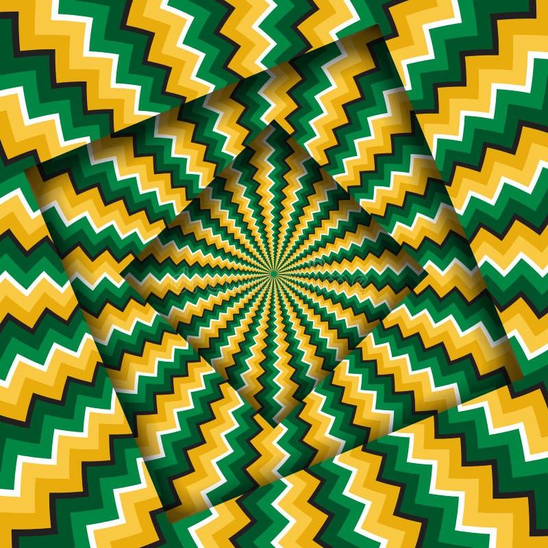 Abstrakt begrepp vände ramar med en roterande grön gul sicksackmodell optisk bakgrundsillusion vektor illustrationer