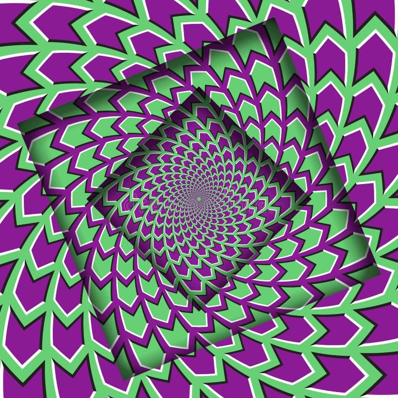Abstrakt begrepp vände ramar med en roterande grön purpurfärgad pilmodell optisk bakgrundsillusion stock illustrationer