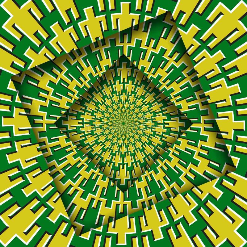 Abstrakt begrepp vände ramar med en roterande gul symbolmodell för gröna män Hypnotisk bakgrund för optisk illusion royaltyfri illustrationer