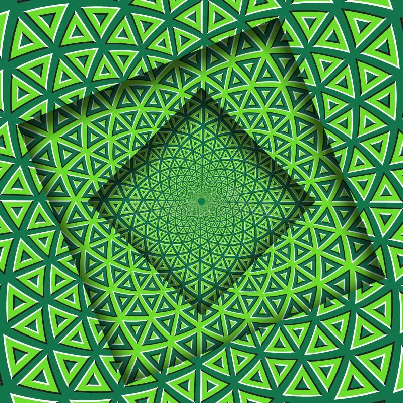 Abstrakt begrepp vände ramar med en roterande triangulär beståndsdelmodell för grön limefrukt optisk bakgrundsillusion royaltyfri illustrationer