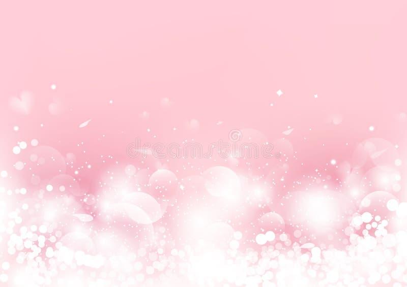 Abstrakt begrepp valentindag, rosa oskarpt med sprider steg kronbladet och hjärta, Bokeh som blinkar säsongsbetonad ferie för rom vektor illustrationer
