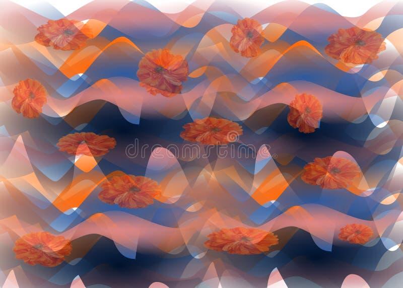 Abstrakt begrepp vinkar med vallmo, fantasibakgrund stock illustrationer