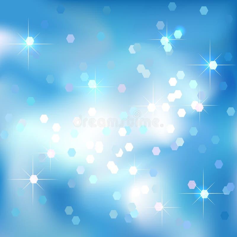 Abstrakt begreppbakgrund för blå himmel med moln och stjärnor Magiskt nytt år bakgrund för julhändelsestil stock illustrationer
