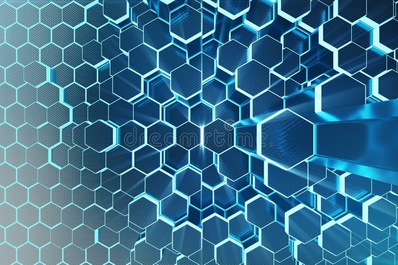 abstrakt begreppblått för illustration 3D av den futuristiska yttersidasexhörningsmodellen med ljusa strålar Sexhörnig bakgrund f arkivbild