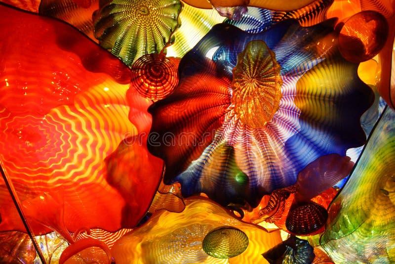 Abstrakt begreppfärger av blåst exponeringsglas arkivfoton