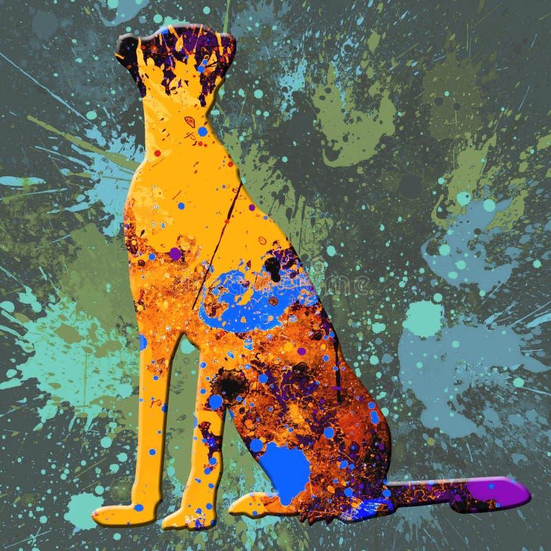 Abstrakt begreppfärgstänk Tiger Painting - akryl på kanfasmålning vektor illustrationer